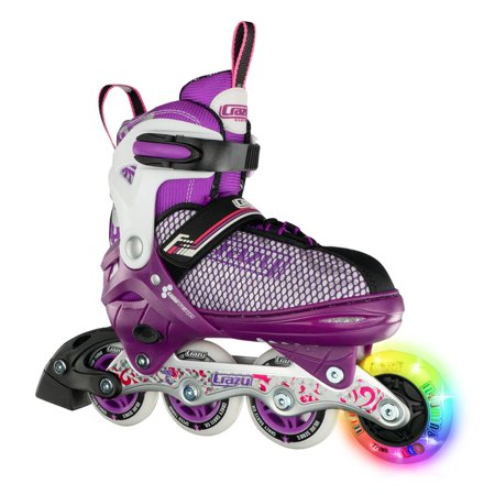 Crazy Skates LED Adjustable Inline Skates | Light Up Wheels | Adjusts to Fit 4 Shoe Sizes (Model 168) Purple Medium Micro Adjust In Line Skate