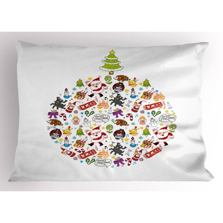 Kids Christmas Pillow Sham Merry Xmas Wish and Circle of Happy Cute New Year Icons Under Pine Tree, Decorative Standard Size Printed Pillowcase, 26 X 20 Inches, Multicolor, by Ambesonne - Merry Christmas Cute