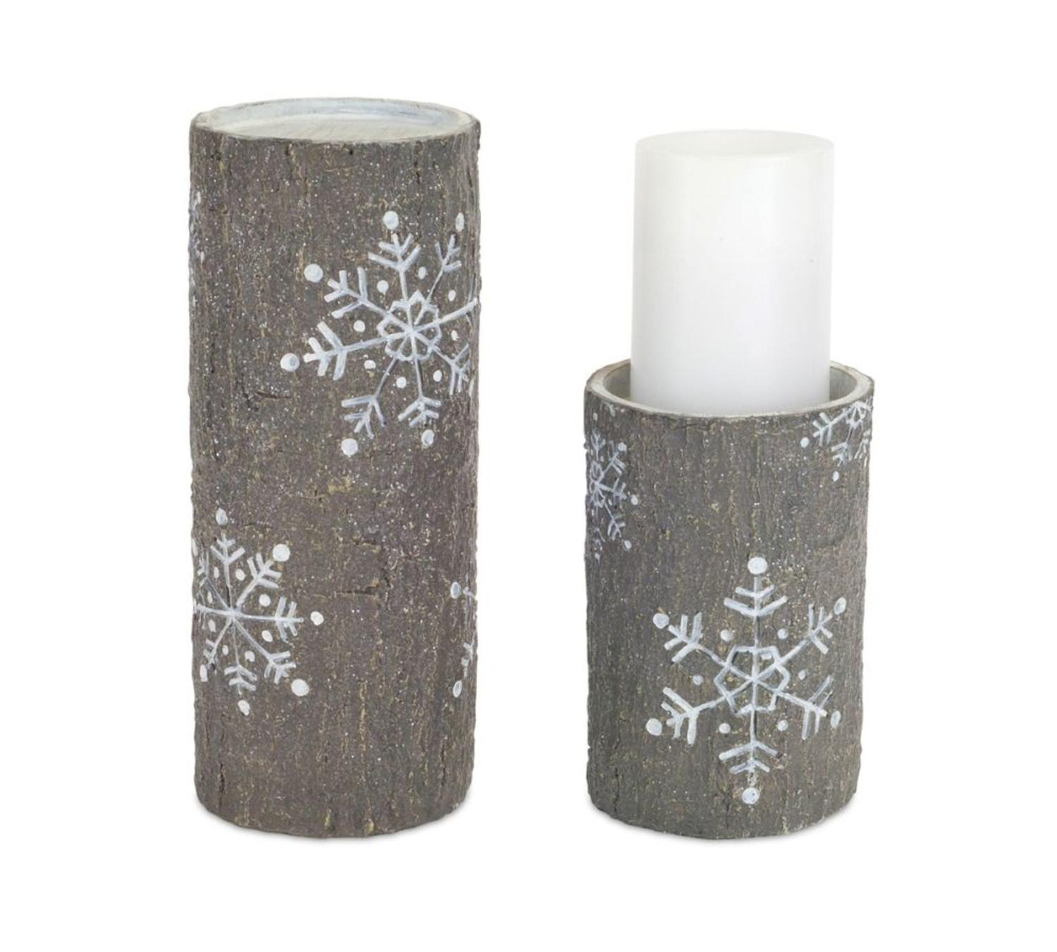 """Pack of 6 Gray and White Faux Stone Snowflake Pillar Candle Holders 7""""-10"""""""