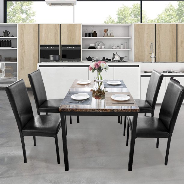 5 Piece Dining Table Set Modern Faux Marble Table And 4 Pu Leather Upholstered Chairs Square