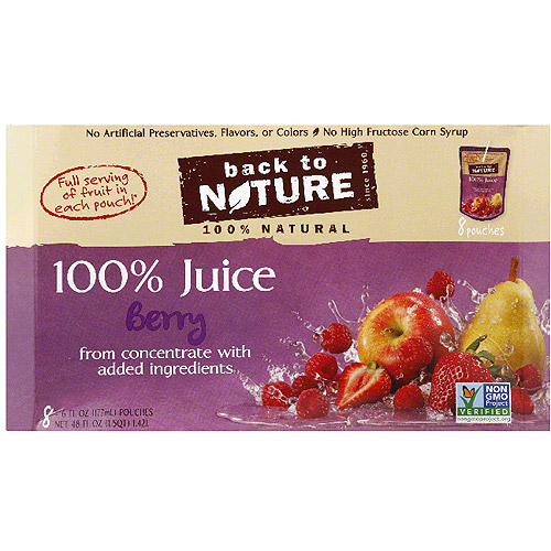 Back to Nature 100% Juice, Berry, 6 Fl Oz, 8 Count, Pack of 5