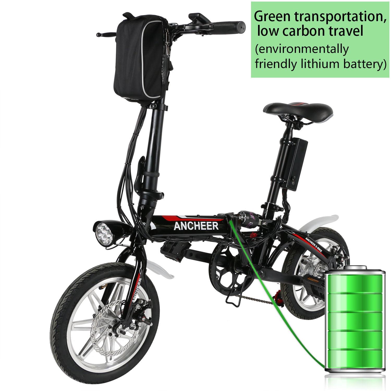 "Ancheer 14"" Folding Electric Bike 36V Lithium-ion Battery Adjustable,Black"