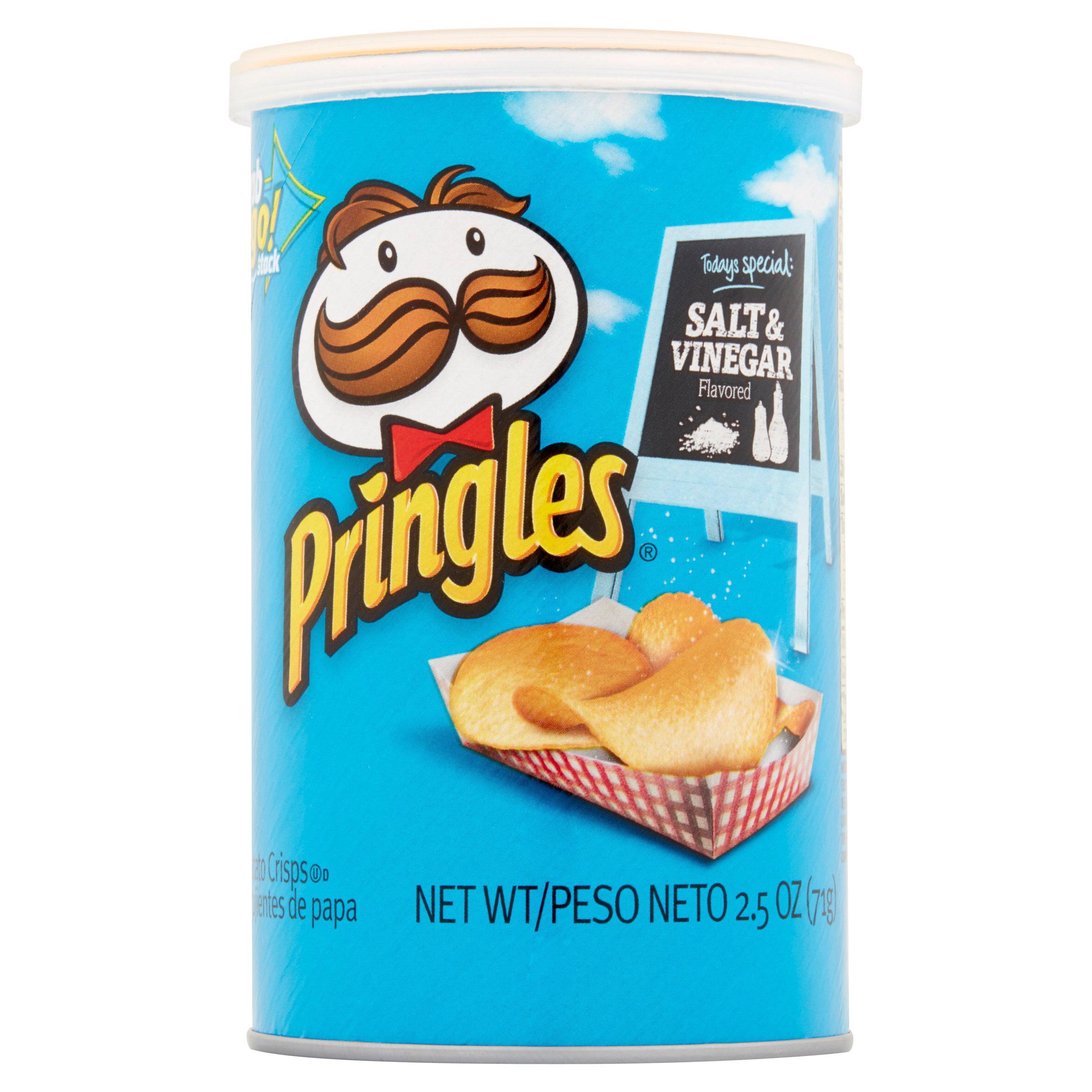 Pringles Salt & Vinegar Potato Crisps Chips, 2.5 oz (Pack of 12)