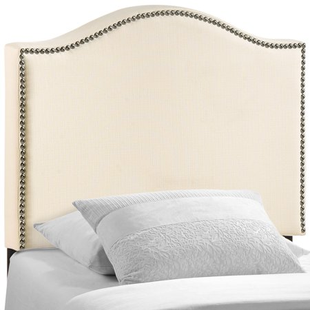 Modern Contemporary Twin Size Nailhead Upholstered Headboard, Ivory Fabric