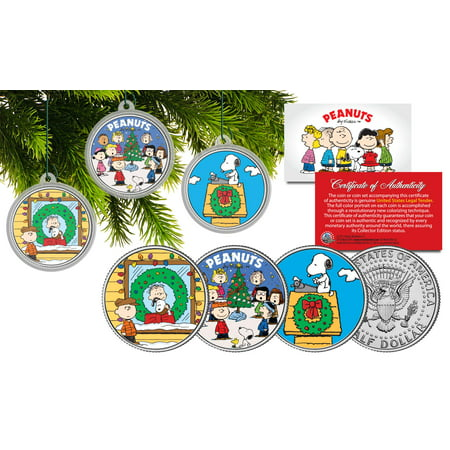 PEANUTS CHRISTMAS Charlie Brown JFK Half Dollar 3-Coin Set Tree Ornaments SNOOPY](Peanuts Outdoor Christmas Decorations)