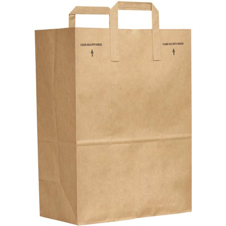 - General E-Z Tote Handle Fold Over Sack Paper Bags, Brown, 300 Ct