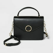 A New Day Faux-leather Top Handle Crossbody Bag for Women with Gold Shoulder Strap, Black (New without Tags)