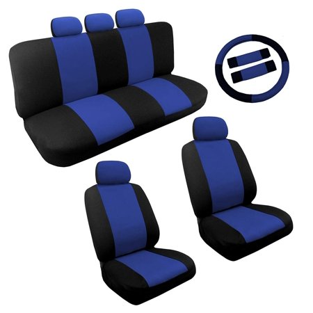 Dual Color Blue/Black Two Tone Car Seat Covers Steering Wheel Set 14pc Racing For Chevy Cruze (Seat Covers For Chevy Cruze)