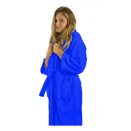 Terry Microfiber Hooded Bathrobe for Girls and Boys, Royal Robe, Size SMALL