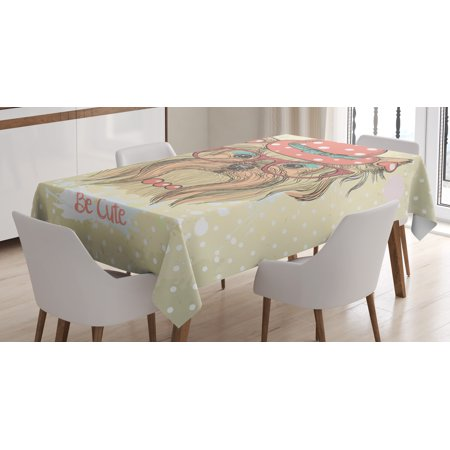 Yorkie Tablecloth, Be Cute Portrait of an Adorable Dog with Earrings Necklace Glasses Hat Makeup, Rectangular Table Cover for Dining Room Kitchen, 60 X 84 Inches, Pale Brown Coral, by Ambesonne