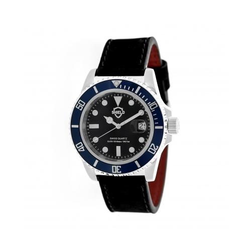 Shield Cousteau Leather-Band Pro-Diver Swiss Watch W/Date - Silver/Black/Navy