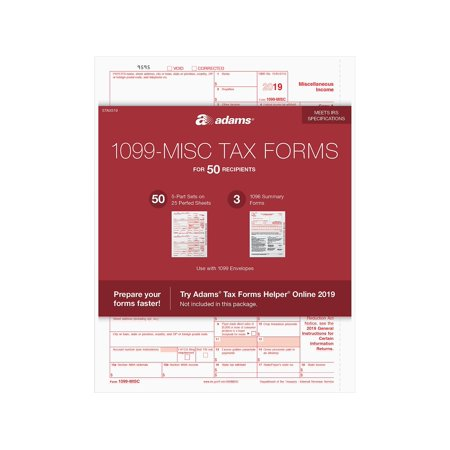 Adams 2019 1099-MISC and 1096, Laser Tax Forms STAX519