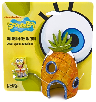 Penn-Plax SBCP6 Resin Nickelodeon Spongebob Squarepants SpongeBob/Pineapple Home 2-Piece Aquarium Ornament, Multicolor, 2-Piece