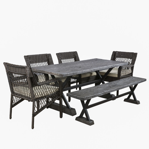 Brayden Studio Maki 6 Piece Dining Set with Cushions