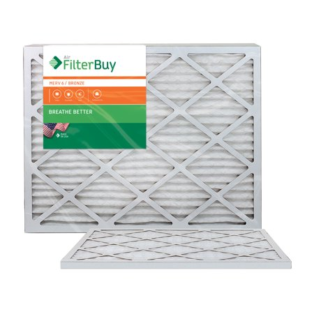 AFB Bronze MERV 6 20x30x1 Pleated AC Furnace Air Filter. Pack of 2 Filters. 100% produced in the