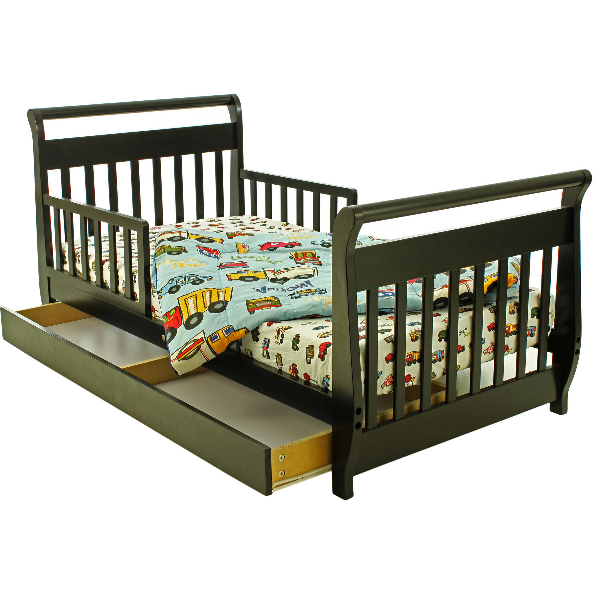 Dream On Me Sleigh Toddler Bed with Storage Drawer, Choose Your Finish