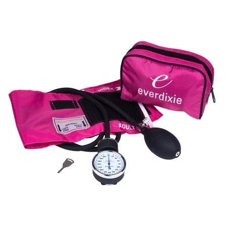 Dixie Ems pink deluxe aneroid sphygmomanometer blood pressure set with adult cuff, nylon pink carryi