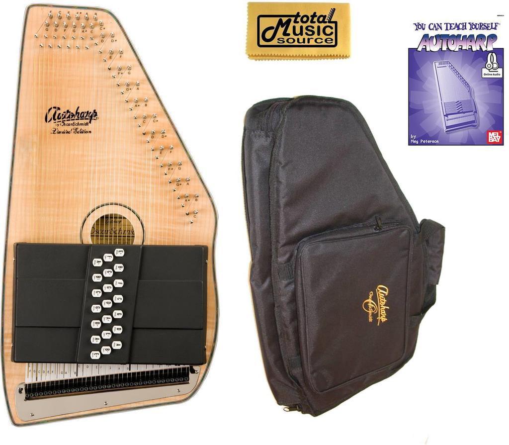 Oscar Schmidt 21 Chord Acoustic Electric Autoharp, Flame Maple Top, OS11021FNE AC445PACK by Oscar Schmidt