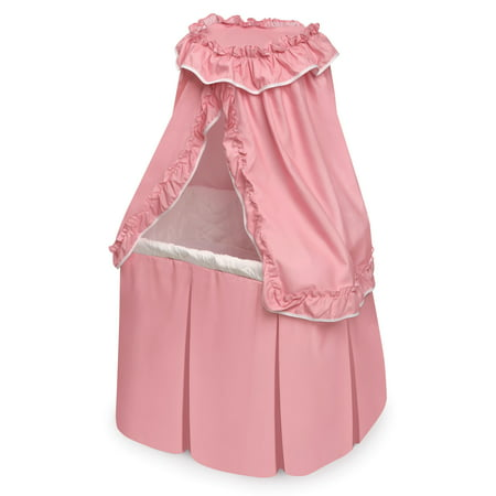 Badger Basket Kisses Rocking Rectangle Doll Bassinet - Pink/White - Fits American Girl, My Life As & Most 18