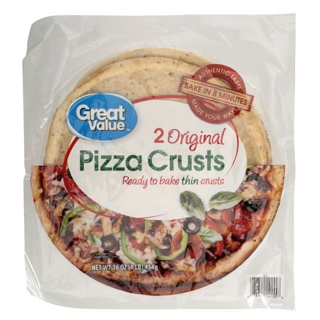 (3 Pack) Great Value Pizza Crusts, Original, 2 Count