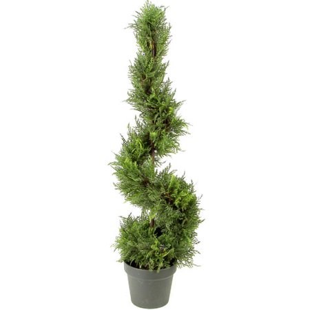 Admired by Nature Artificial Cypress Leave Spiral Topiary Plant in Pot