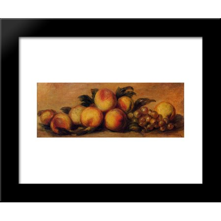 Still Life with Peaches and Grapes 20x24 Framed Art Print by Renoir, Pierre A...