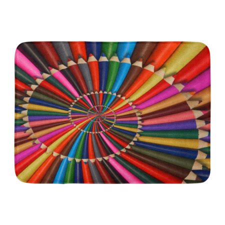 GODPOK Blue Colorful Rainbow Sharpen Pencils Spiral Pattern Fractal School Repetitive Distorted Conceptual Green Rug Doormat Bath Mat 23.6x15.7 inch (School Rugs)