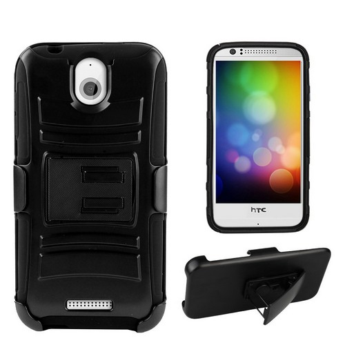 eDragon Armor Kombo Shell Case Polycarbonate Case for HTC Desire 510 Black/Black with Belt Clip Holster