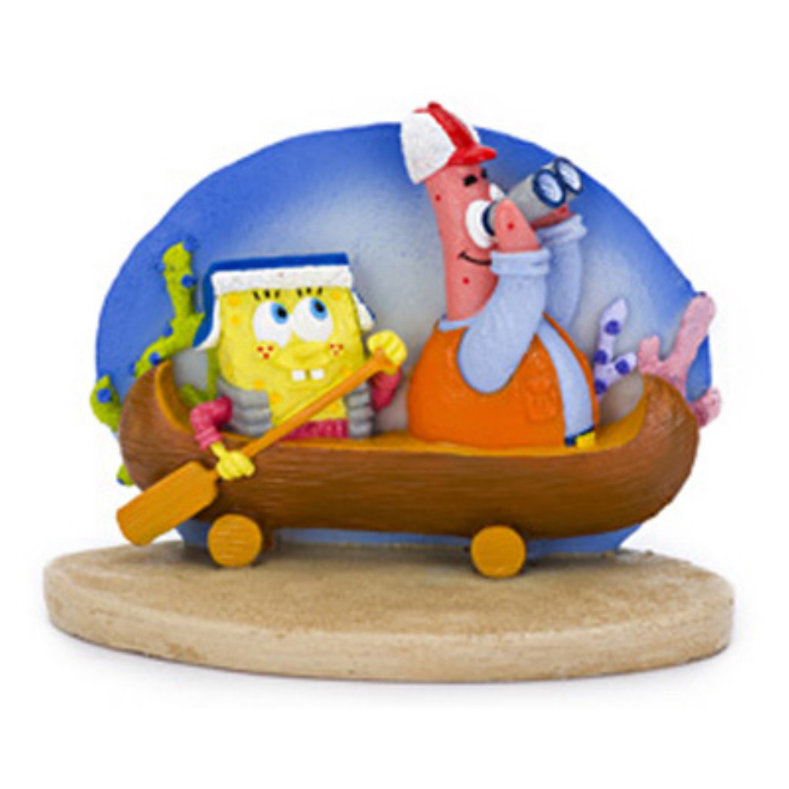Penn Plax SpongeBob and Patrick in Canoe Aquarium Figure