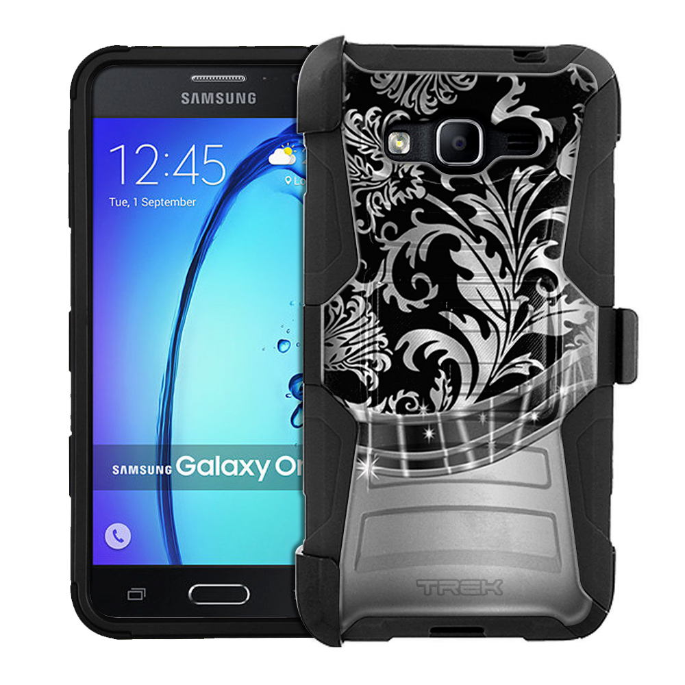 Samsung Galaxy On5 Armor Hybrid Case - Damask Metallic Style on Black