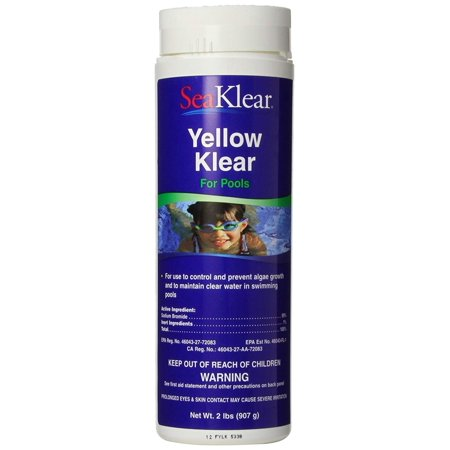 Yellow Klear Algae Control, 2 lbs, For use to control and prevent algae growth and to maintain clear water in swimming pools By