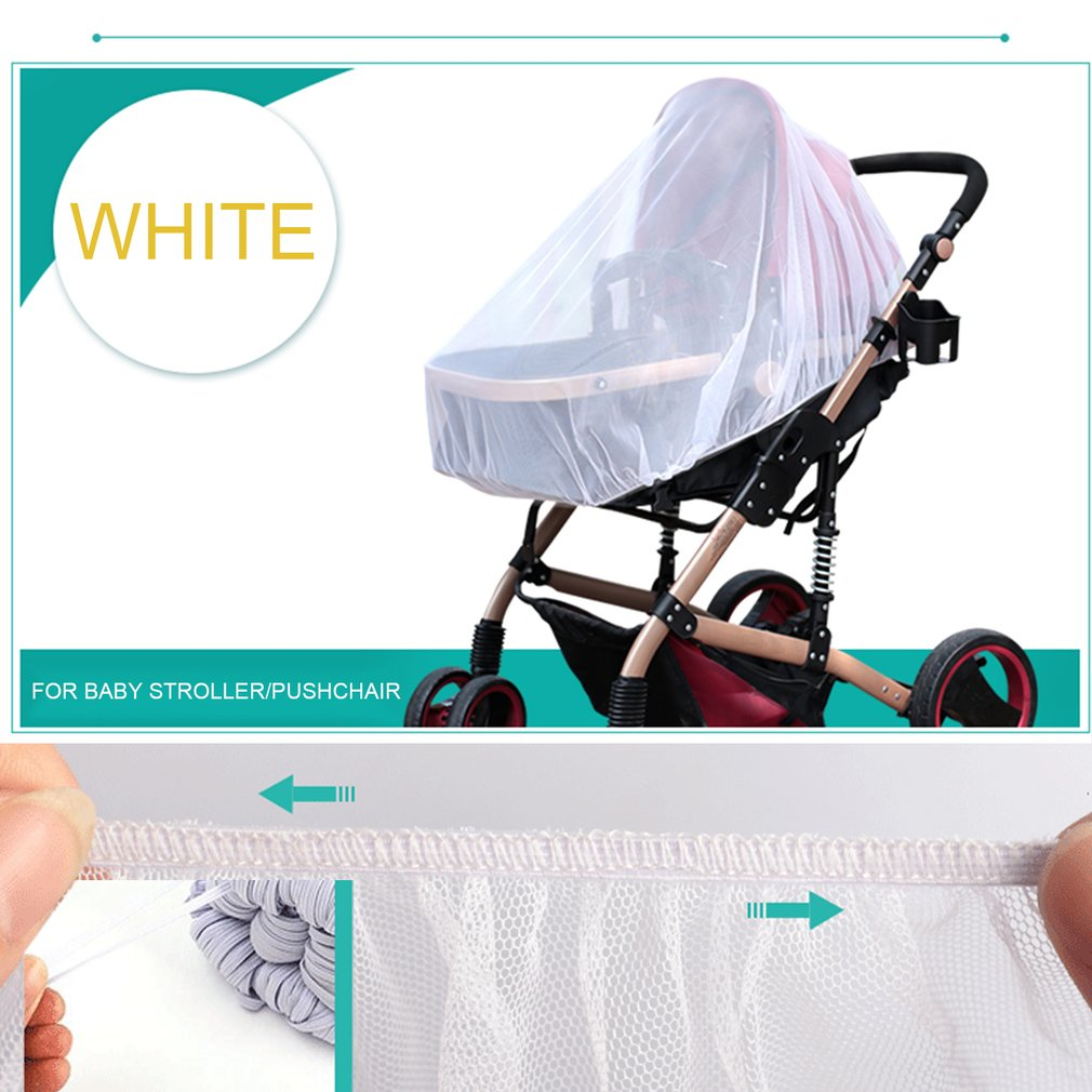 Trendy Summer Infants Baby Stroller Mosquito Net Buggy Pram Protector Pushchair Fly Midge Insect Bug Cover Stroller Accessories,white