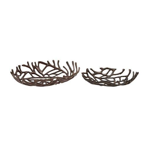 Cole & Grey Brilliant Aluminum Decorative Oval Decorative Bowl 2 Piece Set by Benzara Inc