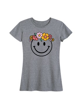 Smiley Flower Crown  - Women's Short Sleeve Graphic T-Shirt