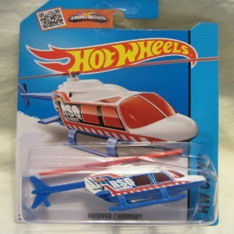 Hot Wheels 2015 HW City Propper Chopper (Helicopter) 52/250, White and Blue