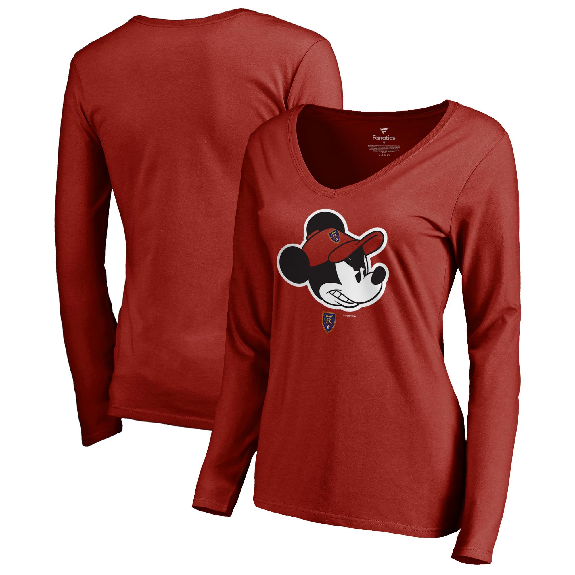 Real Salt Lake Fanatics Branded Women's Disney Game Face Long Sleeve V-Neck T-Shirt - Red