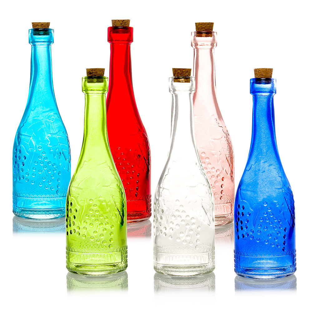 6pc Stella Vintage Glass Bottles Decorative Colorful Wedding Flower Vases by Asian Import Store, Inc.