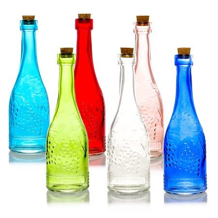 6pc Stella Vintage Glass Bottles Decorative Colorful Wedding Flower