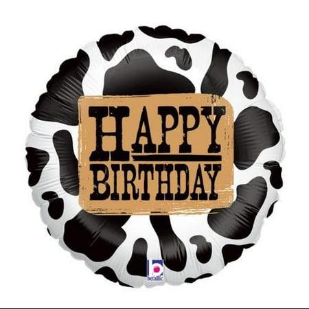 Cow Print Happy Birthday 18 inch Foil Balloon