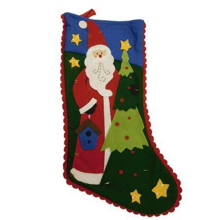 Holiday Santa Stocking (Green Felt Patchwork Santa Claus & Tree Christmas Holiday Stocking )