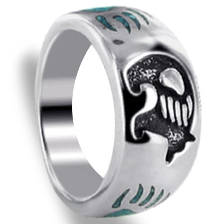 Gem Avenue Men's 925 Silver Turquoise Gemstone Bear with Claw Ring Southwestern Style](Ring Bear Suits)