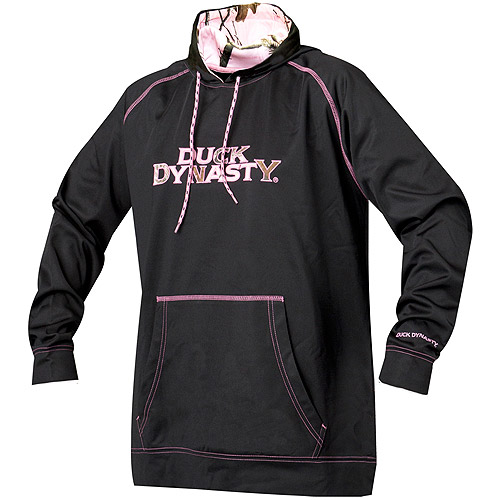 Duck Dynasty Men's Accented Pullover Hoodie, RealTree Pink/Caviar