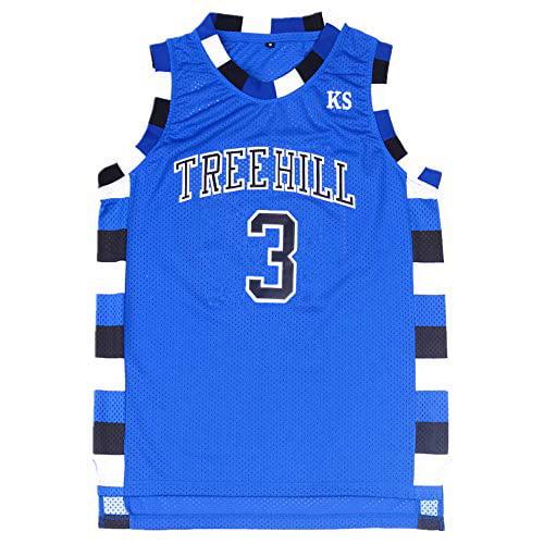 TUEIKGU Mens Lucas Scott 3 Ravens Basketball Jersey Stitched Sports Movie Jersey Blue (Small)