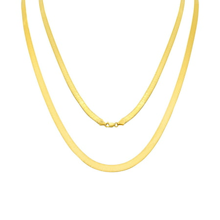 10K Yellow Gold Solid 5mm Polished Silky Flat Herringbone Chain Necklace, 16