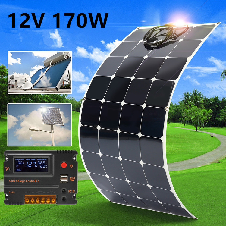 170W 12V Waterproof Monocrystal Solar Panel Semi-Flexible Solar Cells Battery char ger with 1.5m Cable For Home RV Boat