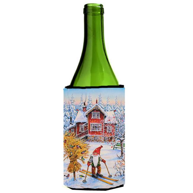 Christmas Gnome Skiing Wine Bottle Can cooler Hugger by CoolCookware