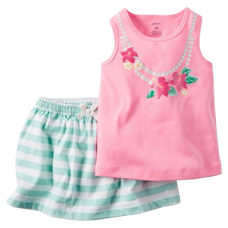 Carters Toddler Clothing Outfit Little Girls 2-Piece Neon Necklace Tank & Skort Set - Neon Outfit