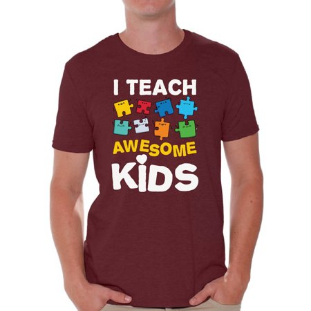 Awesome Graphic Tees - Awkward Styles Men's Autism Awareness Puzzle Graphic T-shirt Tops I Teach Awesome Kids