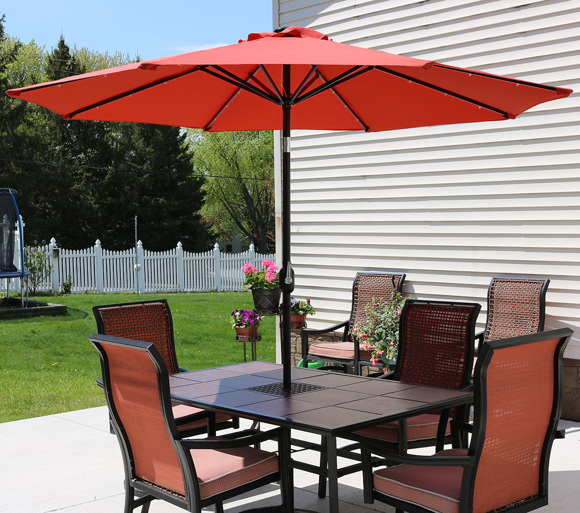 Outdoor Patio Umbrella With Led Lights