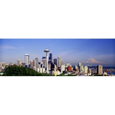 Skyscrapers with mountain in the background Mt Rainier Mt Rainier National Park Space Needle Seattle Washington State USA Canvas Art - Panoramic Images (18 x